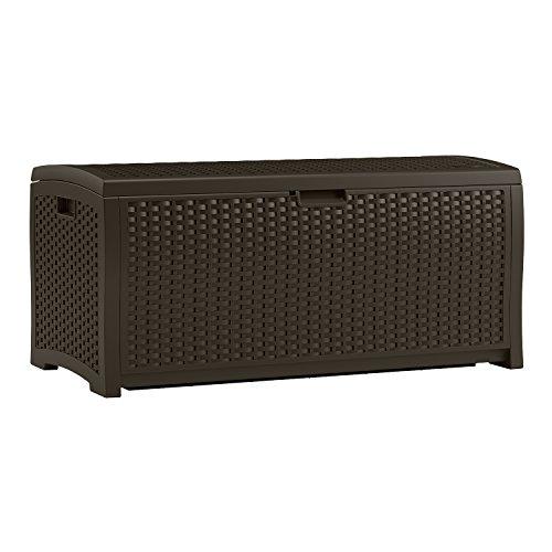 Suncast DBW7300 Mocha Wicker Resin Deck Box 73-Gallon