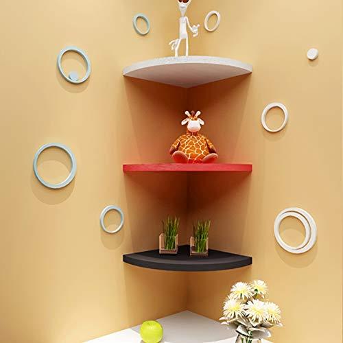 JIGUANG Shelf Shelves Wall Triangular Fan-Shaped Shelf Corner Racks Shelf Wall Hanging partition Book Shelf Decoration Creative Grid LM01211538 Color  White Size  D22CM