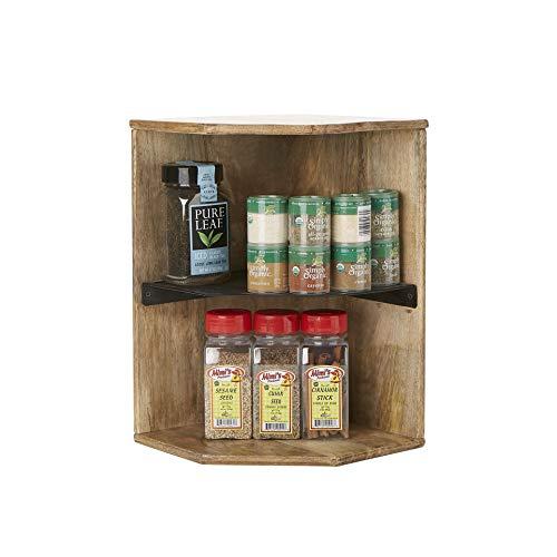 Mind Reader 2WISH-BRN Mango Wood Iron 2 Tier Shelf Kitchen Corner Living Area Storage Spice Rack Organizer Brown