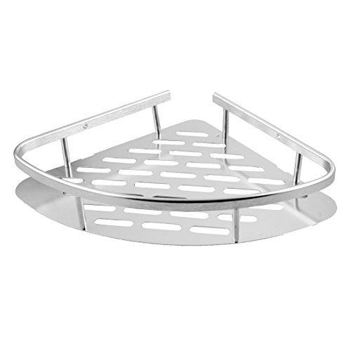 NA Home Bathroom Triangle Shower Caddy Storage Basket Hanger Corner Rack Shelf Silver Tone
