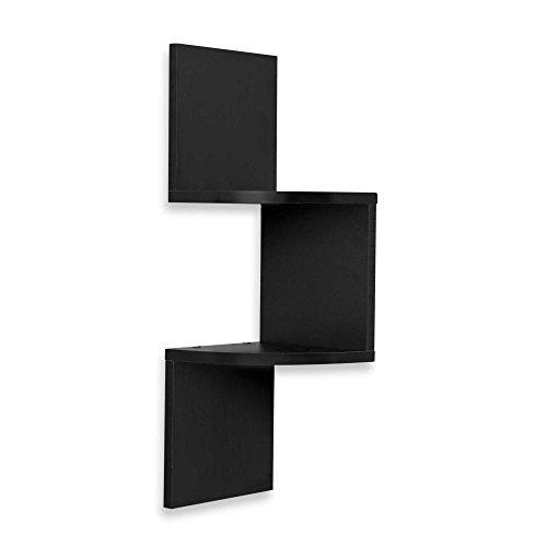 BTExpert Wall Corner Zig Zag Wall Mount Wall Shelf Decor Black Finish