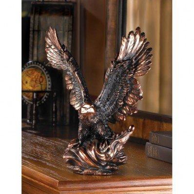 Eagle In Flight Statue Bronze Color Bird Figurine Art Table Desk Shelf Decor
