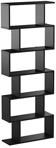 Homfa Bookshelf 6-Tier Bookcase S Shaped Bookshelf Free Standing Display Storage Shelves Decor Furniture for Living Room Home Office