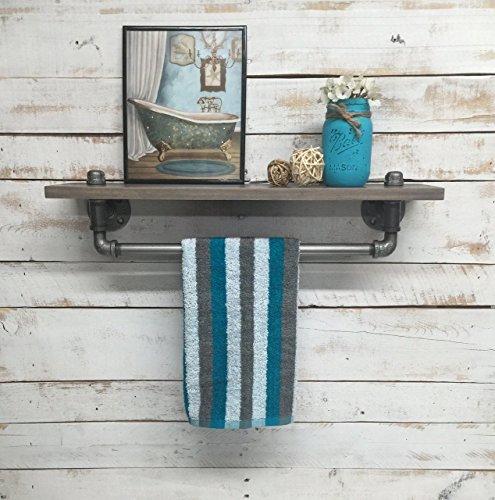 Industrial towel rack shelf Rustic shelves industrial decor bathroom decor home towel bar shelf bathroom shelves