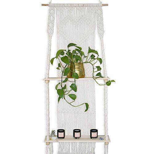 Macrame Wall Hanging Shelf - Boho Indoor Hanging Shelves for Wall - Decorative Bohemian Floating Plants Room Storage Shelving Macrame Rope Decor Organizer Rack 2 Tier Handmade Plant Shelves