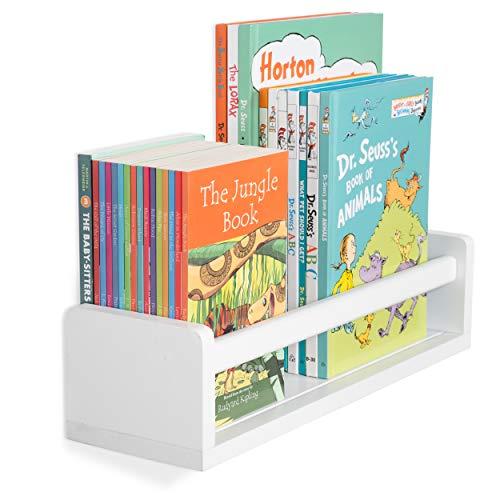 Wallniture Madrid Shelf Nursery Baby Room Wood Floating Wall Shelf White Kids Room Bookshelf Display Decor 17 inch