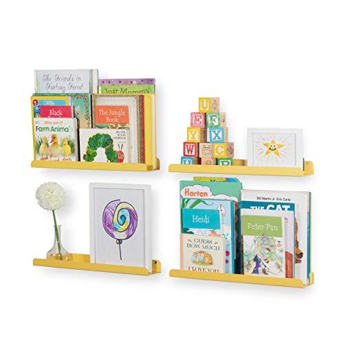 Wallniture Sedona Wall Mounted Floating Shelves for Nursery Decor Kids Room Bookshelf Display Picture Ledge Yellow Set of 4