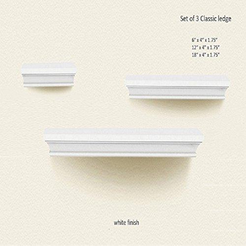 Xus Home Decor - Homes Floating Shelf Wood Wall Display Shelves Ledge Shelves 3-piece Set White