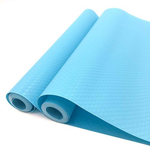 Latom Vinyl Shelf Liner Paper Rolls Non-Adhesive&Non-Slip Cabinet Drawer Liners 12 Inch Wide x 5 Feet Long x 2 Rolls Light Blue