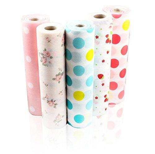 Zhide Beautiful Dot Pattern Non-Adhesive Shelf Paper Drawer Liner Sets5 Rolls One Set L