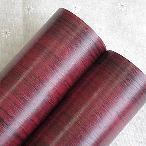 SimpleLife4U Red Walnut Wood Grain Shelving Paper Self-Adhesive Drawer Liner Refurbish Ugly Cupboard Doors 177 Inch By 13 Feet