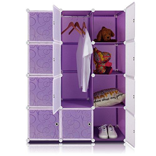 Lifewit 4-Tier Clothes Closet Modular Wardrobe Freestanding Storage Organizer Purple with White Doors