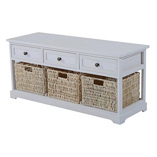 """HomCom 40"""" 3-Drawer 3-Basket Storage Bench - White"""