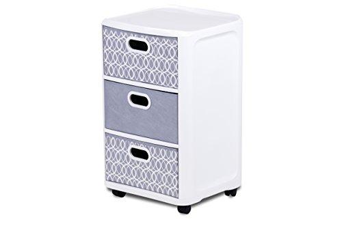 Home Logic Grey Paisley Storage 3 Drawer Fabric Cart Large White Grey