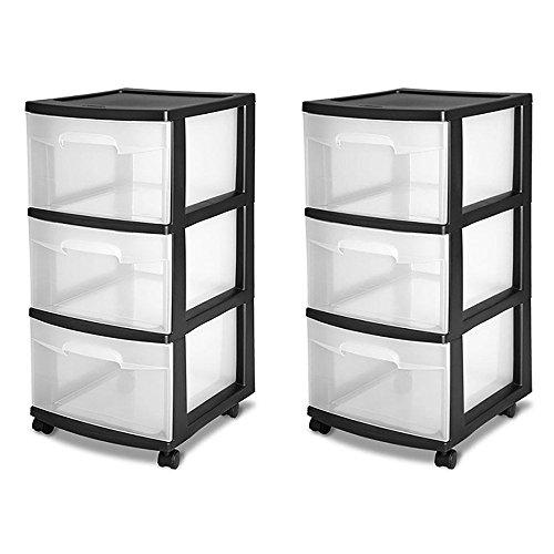 Sterilite 3-Drawer Storage Cart Black 2-Pack