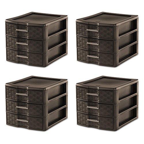 Sterilite Medium Weave 3-Drawer Storage Organizer 4 Pack
