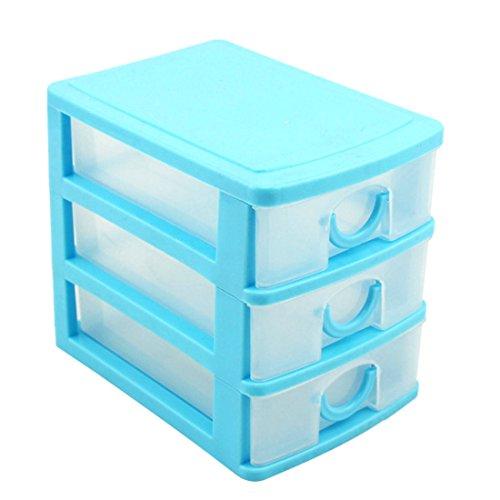 haoun 3-Tier Mini Desktop Organizer Drawer Type Storage Box - Pink Blue