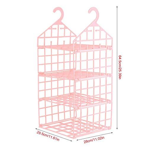 VistorHies - 3-Layer Hanging Wardrobe Storage Rack Clothes Underwear Holder Closet Storage Rack Hooks