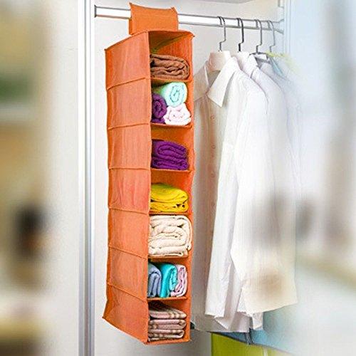Closet Shelves Organizer Portable Clothes Storage Hanging Rack Wardrobe Rod Orange