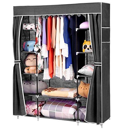 Vansop Portable Closet Storage Organizer Clothes Wardrobe Shoe Rack Shelves  Cover Side Pocket BlackBeigeBlue