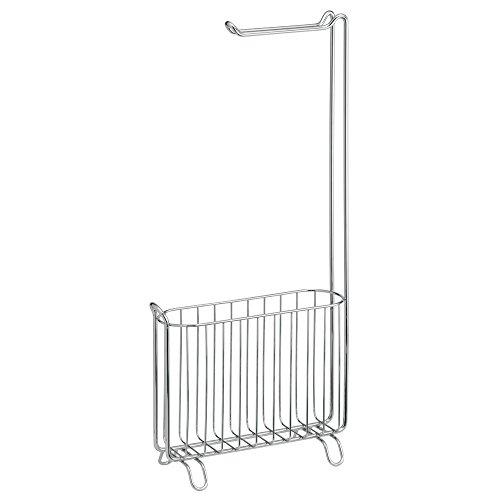 InterDesign Classico Free Standing Toilet Paper Holder and Magazine Rack for Bathroom - Chrome