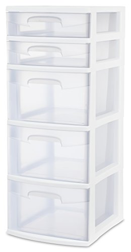 Sterilite 28958002 5 Drawer Tower White Frame with Clear Drawers 2-Pack
