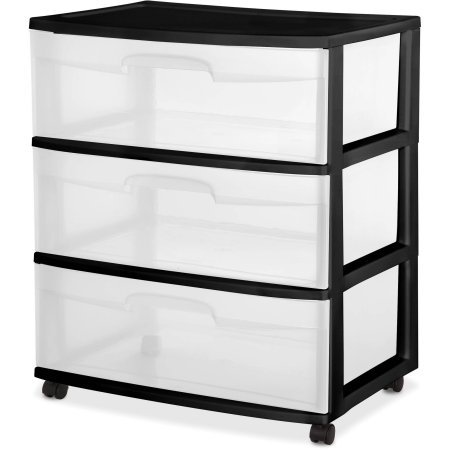 Easy To Open And Close Sterilite 3 Drawer Wide Cart