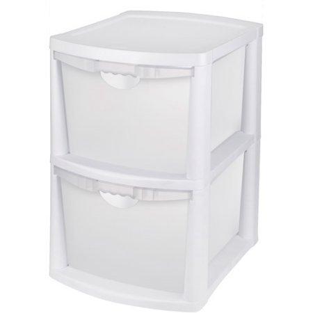 Sterilite Large 2 Deep Drawer Storage Bin with Handles White