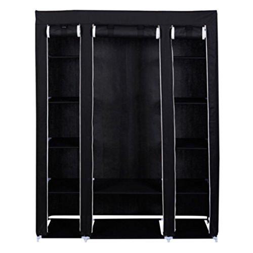53 Black Portable Closet Storage Organizer Clothes Wardrobe Shoe Rack with Shelves
