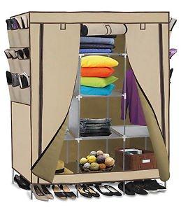 69 Portable Closet Storage Organizer Clothes Wardrobe Shoe Rack Shelves Beige