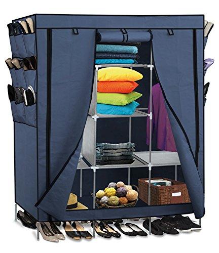69 Portable Closet Storage Organizer Clothes Wardrobe Shoe Rack Shelves Blue