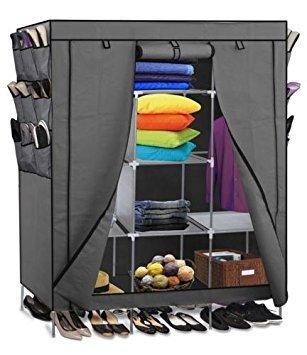 69 Portable Closet Storage Organizer Clothes Wardrobe Shoe Rack with Shelves