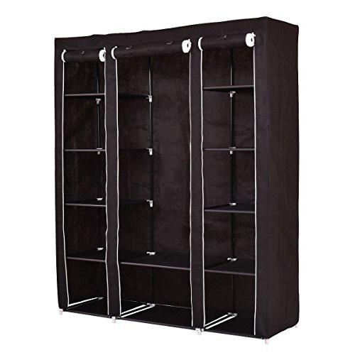70 Portable Closet - Storage Organizer Clothes - Wardrobe Shoe Rack - W Shelves Black
