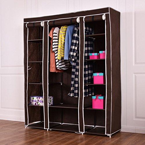 70 Portable Closet Storage Organizer Clothes Wardrobe Shoe Rack WShelves Brown