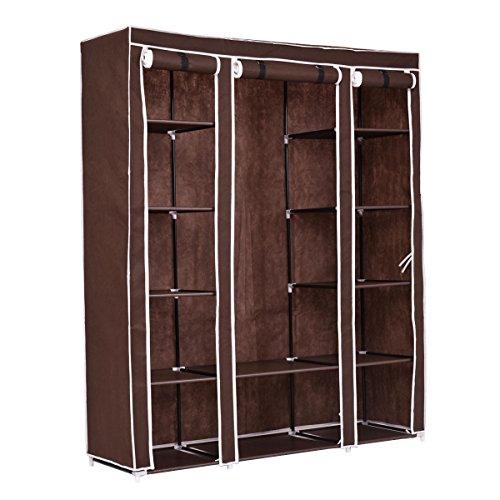 70 Portable Closet - Storage Organizer Clothes - Wardrobe Shoe Rack - W Shelves Brown