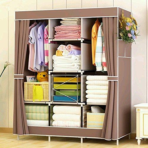 Lehas Portable Closet Storage Organizer Clothes Wardrobe with Shoe Rack ShelvesBrown 669 L x 413 W x 177 D