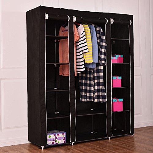 New 70 Portable Closet Storage Organizer Clothes Wardrobe Shoe Rack WShelves
