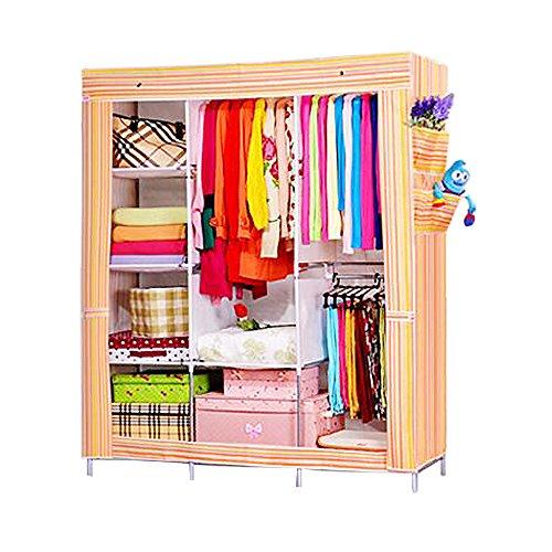 NexPortable Storage Organizer Wardrobe Closet Shoe Rack Assemble Easy 69 x 51 x 175 15 Cubic Ft yellow