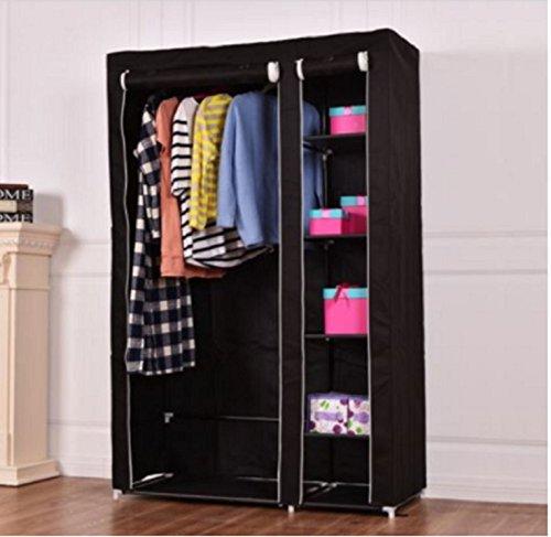 USA Premium Store 69 Portable Closet Storage Organizer Clothes Wardrobe Shoe Rack W6 Shelf Black