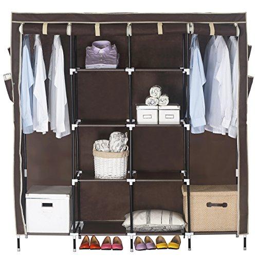 WOLTU Portable Non-woven Fabric Storage Clothes Closet Wardrobe Shoe Rack Organizer with Shelves Coffee