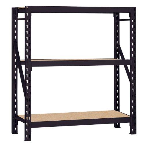 Edsal ERZ601866PB3 Muscle Rack Black Steel Bulk Storage Rack 3 Shelves 1200 lb Shelf Capacity 66 Height x 60 Width x 18 Depth