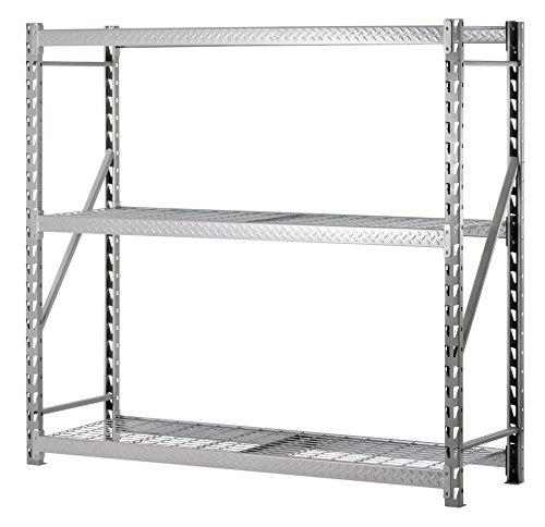 Muscle Rack TP722472W3 3-Shelf Steel Treadplate Welded Rack Length 24 Height 72 Width 77 Silver