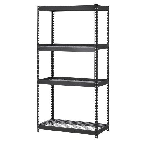 Muscle Rack TRK-361860W4 Depth Steel Shelving Unit 4-Shelf 36 Width x 60 Height x 18 Black