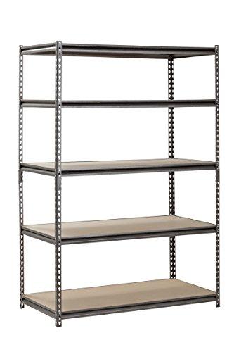 Muscle Rack UR482472PB5PAZ-SV Silver Vein Steel Storage Rack 5 Adjustable Shelves 4000 lb Capacity 72 Height x 48 Width x 24 Depth