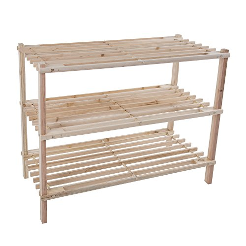 Lavish Home Wood Shoe Rack Storage Bench - Closet Bathroom Kitchen Entry Organizer 3-Tier Space Saver Shoe Rack