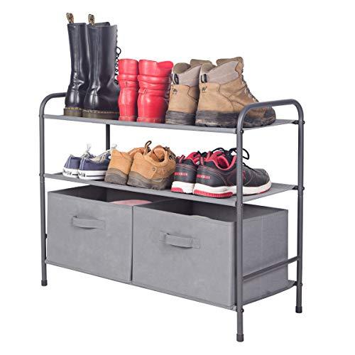 MAX Houser 3-Tiers Shoe Rack with 2 Removeable Storage Bins Closet Shoe Storage Cabinet Organizer Multi-Purpose Closet OrganizationGrey