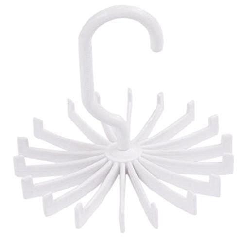 2pcs Rotating Belt Scarf Rack Tie Hanger Holder 18 Hooks for Closet Organizer Storage White