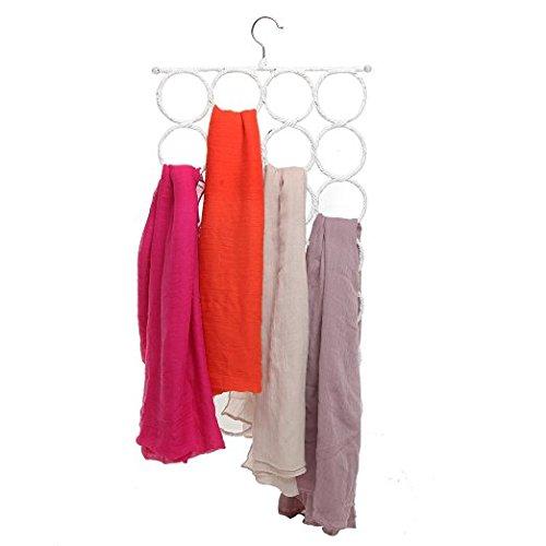 Hanging Closet Organizer Scarf Tie Hanger Holder Rack 28 Count Circles White