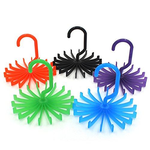 Zicome 5 Pack Tie Rack Adjustable Tie Belt Hanger Holder Hook Ties for Closet Organizer Storage 55 x 55 x 59 Inch