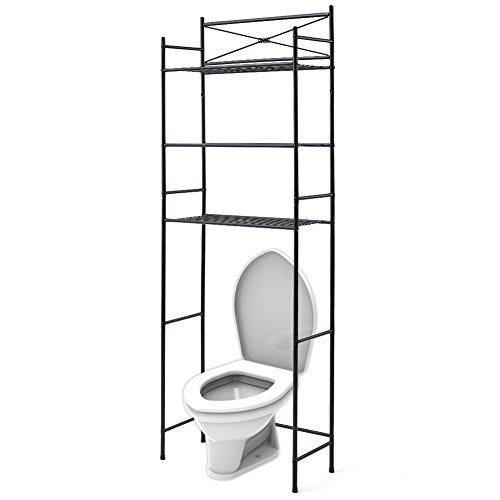 EZOWare 3 Tier Metal Over The Toilet Shelf Space Saver Organizer for Bathroom Rack Shelves - Black